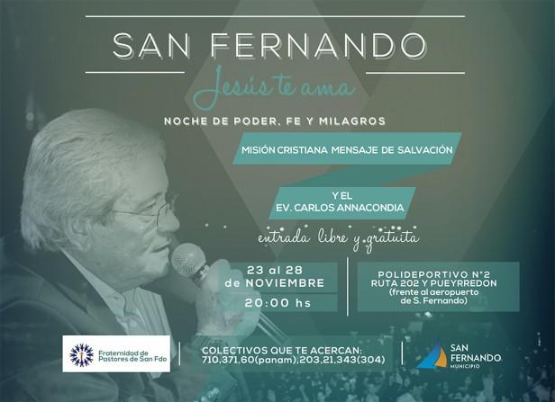 """Se realizará la Campaña Evangelística """"San Fernando, Jesús te Ama"""""""