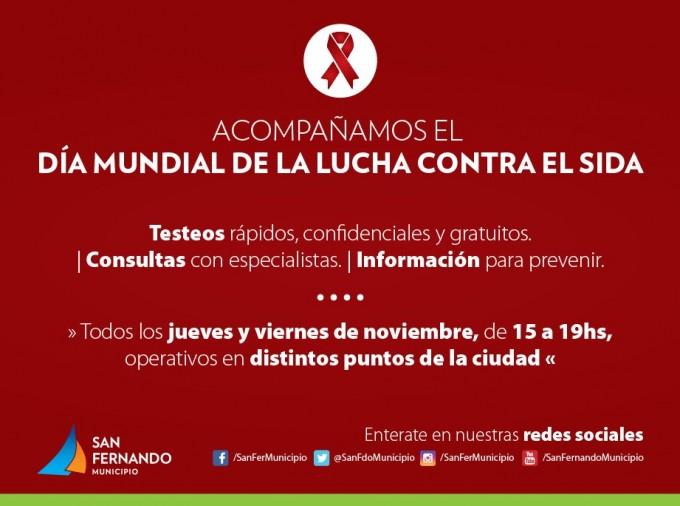 """San Fernando hará siete operativos por el """"Día mundial de la lucha contra el SIDA"""""""