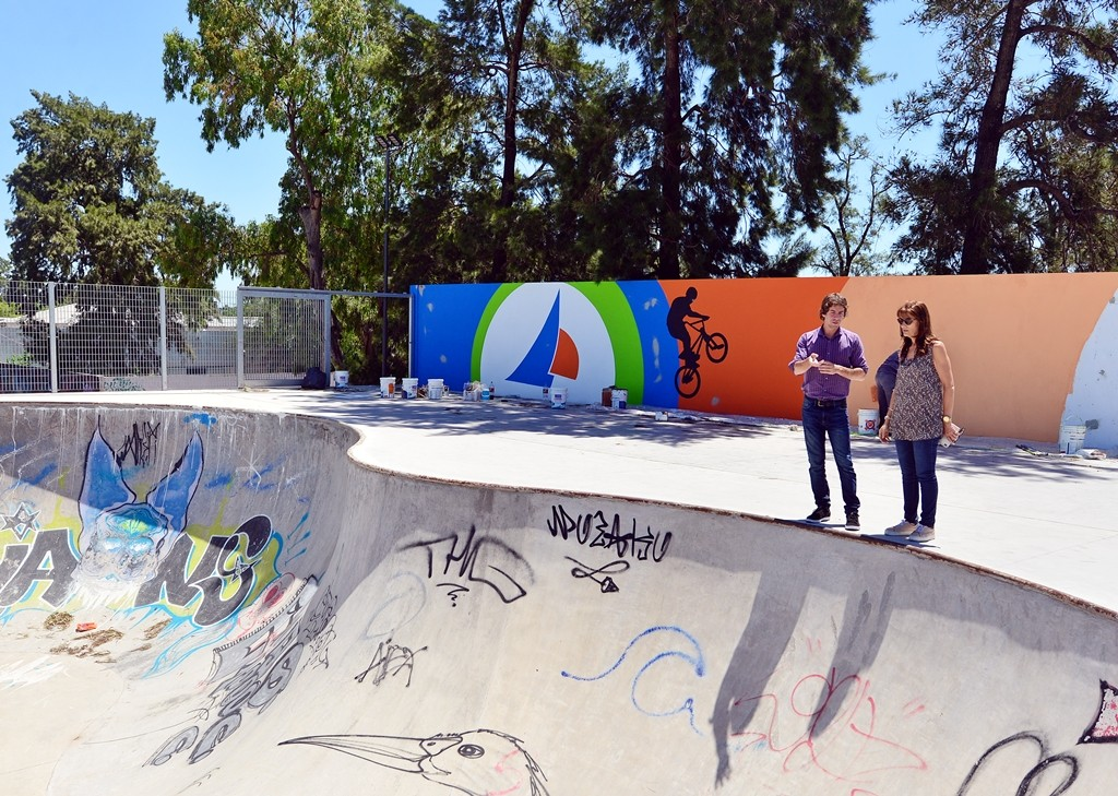 Juan Andreotti visitó la etapa final del Parque de Deportes Extremos