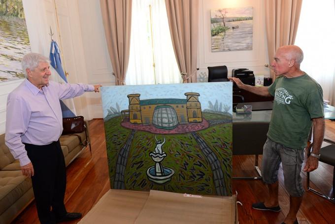 El artista Burone Risso le regaló un cuadro a Andreotti