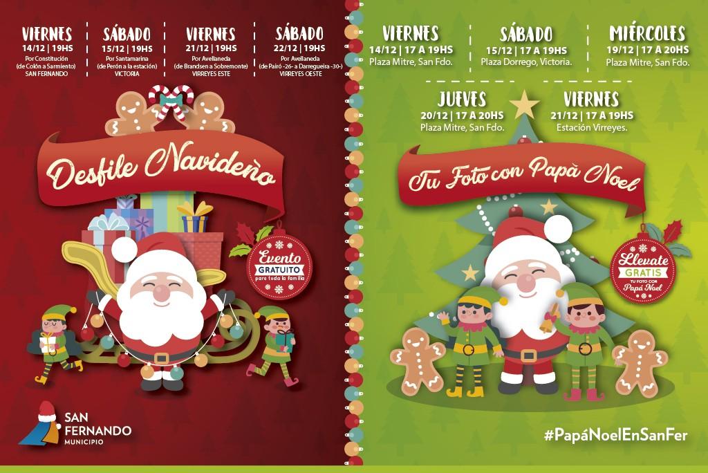 Papá Noel viene a San Fernando a tomarse fotos y participar de desfiles