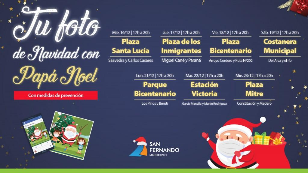 Papá Noel vuelve a San Fernando para sacarse fotos instantáneas, con todos los cuidados