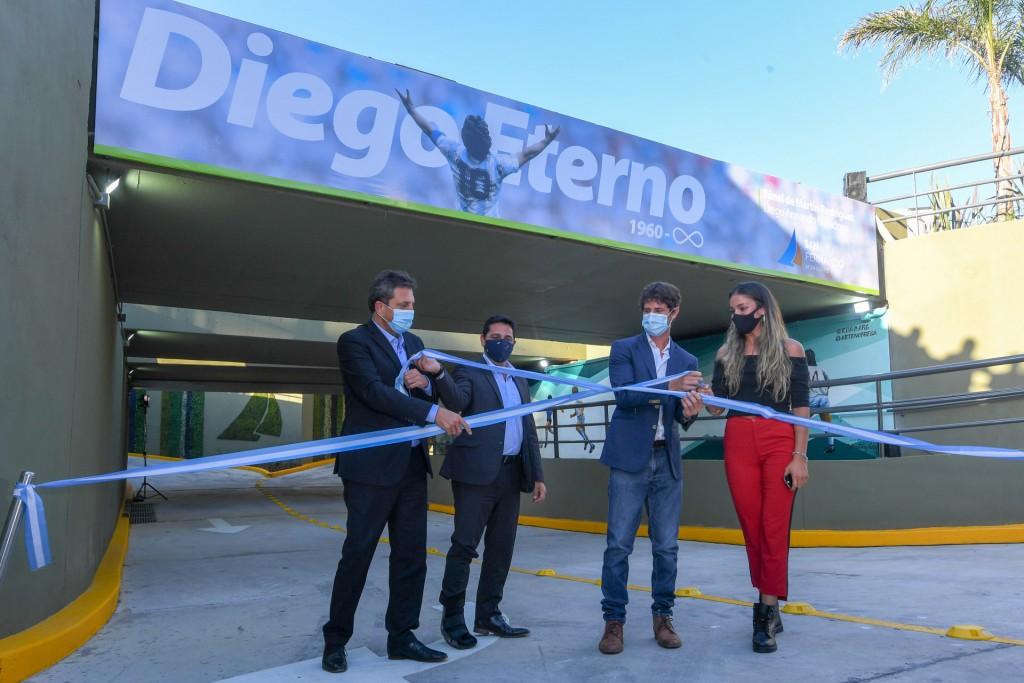 Juan Andreotti y Sergio Massa inauguraron el Túnel de la calle Martín Rodríguez ´Diego Armando Maradona´